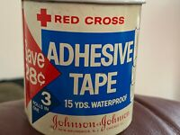"Vintage Antique Tin JOHNSON & JOHNSON RED CROSS 1"", 1/2"" Adhesive Tape Tin"