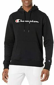 Champion Men's Powerblend Fleece Pullover Hoodie, Script Logo Black-y06794 Small