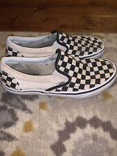 VANS Checkboard Slip On Sneakers Womens 9.5 Mens 8 Black White Casual Shoes