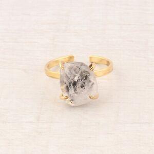 White Natural Rough Herkimer Diamond Yellow Gold Plated Handmade Adjustable Ring