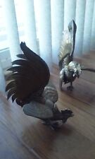 Two hand crafted, collectible, antique rooster and pheasant, stamp made in Italy