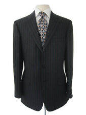 Brioni Suit: 48R Charcoal gray with brick stripes, 3-button, super 150's wool