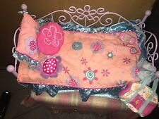 American Girl Doll Pullout Bed For Doll Pink and Purple Trundle Bed With Pillow