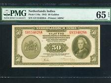 Netherlands Indies:P-116a,50 Gulden,1943 * Queen Wilhelmina * PMG Gem UNC 65 EPQ
