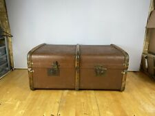 Vintage retro Brown hooped suitcase banded shipping trunk
