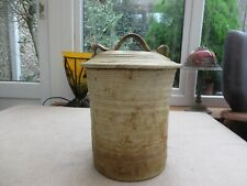 More details for vintage studio pottery vitbe (bread) crock with unusual handle quality huge