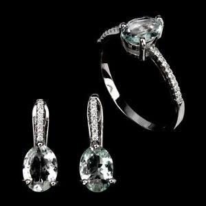 Unheated Oval Aquamarine 8x6mm Natural Cz 925 Sterling Silver Sets Ring Earrings