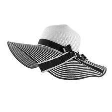 Black & White Rollable Women's Stripes Floppy Straw Hat Beach Derby Sun Cap