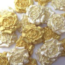 12 Gold Crema Perla Rosas Comestibles sugarpaste Bodas De Oro Pastel Azúcar Decoración