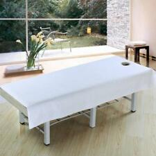 Cotton Sanitary Massage Table Cover Salon Spa Bed Sheet Face Hole White