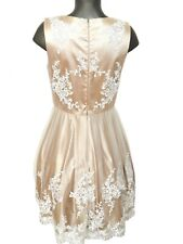 NEU Damen Kleid Gr.38 von Apart Glamour creme beige mit weißer Spitze Unterrock