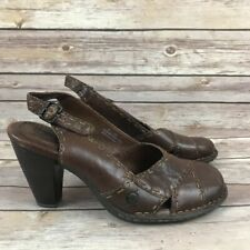 Born Brown Leather Slingback Heels Shoes Size 8