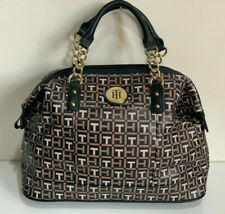 NEW! TOMMY HILFIGER BLACK BROWN BOWLER GOLD CHAIN SATCHEL TOTE PURSE $85 SALE