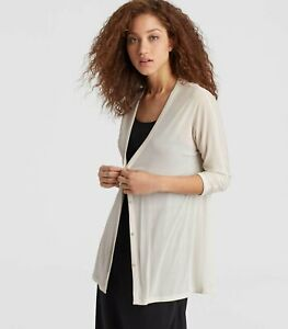 NWT $278 Eileen Fisher BONE V-Nk Cardigan S may fit M Sheer Silk Jersey, Elegant