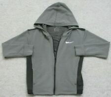 Nike Dri Fit Gray Hooded Sweatshirt Children's Top Solid Medium RayonPolySpandex