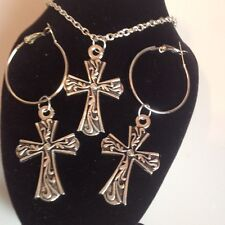 Cross  necklace and matching hoop earrings silver plated.