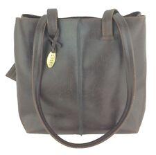 Liz Claiborne Crazy Horse Dark Brown Leather Handbag w/ Card Slot Wallet