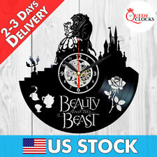 Beauty and the Beast Disney Rose 2017 Vinyl Record Wall Clock Decor Best Gifts