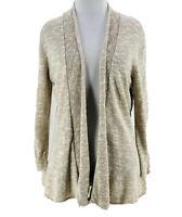 Eileen Fisher Women's Beige Linen Blend Long Sleeve Knit Cardigan Sweater Small
