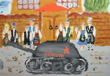 Cityscape Military Parade Vintage Gouache Painting Signed
