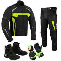 Men 2Piece Motorbike Motorcycle Riding Suit Textile Jacket Trousers Racing Boots