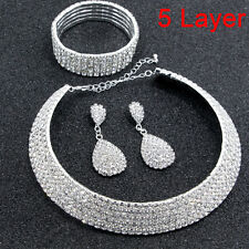Crystal Diamond Choker Necklace Earrings and Bracelet Wedding Jewelry Set C9 1