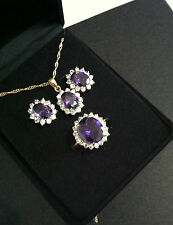 QVC Rose Gold Plated Earrings & Pendant Ring Set Amethyst 14K Ring Size 8