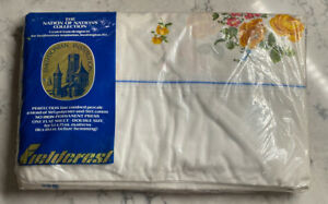 Vintage New Fieldcrest Twin Flat Sheet Meissen Rose Style  Range 55000