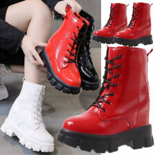 Military Women Patent Leather Ankle Boots Platform Wedge High Heels Chunky Boots