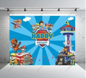 Paw Dog Patrol Happy Birthday Backdrop  Birthday Photo Backdrops for Boy 7x5ft