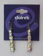 s Graduated borealis Crystal dangle EARRINGS claire's jewelry tarnished finding