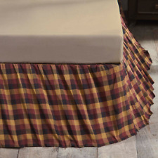 HERITAGE FARMS RED BLACK CHECKS Queen BEDSKIRT : COUNTRY PLAID DUST RUFFLE