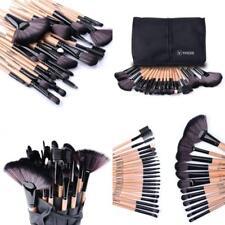 Set De 32 Pinceles Y Brochas Para Maquillaje Profesional Madera Estuche Kabuki