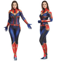 Ms. Captain Marvel Superhero Cosplay Costume Womens Adults Zentai Suit Jumpsuits