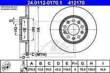2x Bremsscheibe für Bremsanlage Hinterachse ATE 24.0112-0170.1