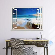 Beach Rising Tide Sunset 3D Window Vinyl Wall decor Stickers Art Prints Decals