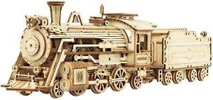 Steam Engine Wooden Model Kit Prime Express Train with Tender Laser-Cut DIY