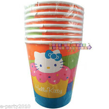 HELLO KITTY Cupcake 9oz PAPER CUPS (8) ~ Birthday Party Supplies Beverage Drink