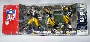 McFarlanes Sports Steelers 3 Pack Action Figures Roethlisberger Ward Porter