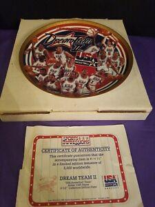 "Sports Impressions Collector's Plate DREAM TEAM II USA Basketball w/ COA 8 1/2"""