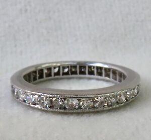 ANTIQUE ART DECO PLATINUM 1.35 CT DIAMOND ETERNITY~ANNIVERSARY WEDDING BAND RING