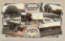 Mankato Minnesota~Art Nouveau~Trolley~Grandstand~Beauty Spots~1911 Postcard