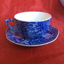 Antique James Kent Teacup & Saucer, Ye Old Foley Ware, FENTON, Gr. Britain, Blue