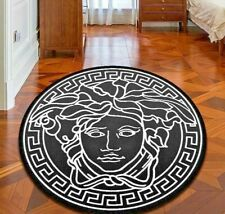 *HOT OFFER* Versace carpet round Medusa Pattern Hot Sale Anti-Slip Black
