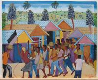 Ossey Dubic Haitian Rural Village Parade Listed Naive Haiti Haitian Artist
