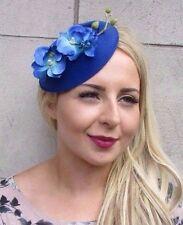 Royal Blue Orchid Flower Pillbox Hat Fascinator Races Rockabilly Vintage 3116