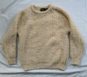 Woman's Irish Fisherman Sweater Hand Loomed ROSSAN Size XL (See Measurements)