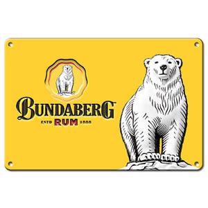 Bundy Bundaberg Rum BIG Yellow Tin Wall Sign Man Cave Bar Fathers Birthday Gift