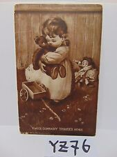VINTAGE POSTED POSTCARD STAMP 1908 LITTLE GIRL W/BEAR TWO'S COMPANY THREE'S NONE