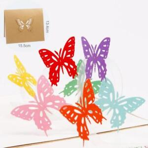 Sculpture Butterfly Greeting Card Easter Gift Creative Paper Cut Color Animals N
